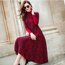 ZUOMAN Red autumn/winter 2020 new turtle neck long sleeve cultivate one's temperament sweater knitting dress knee-length dress