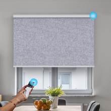 Tela serie grano para oscurecer completamente persianas recargable eléctrica de sistema inalámbrico ventana tonos de la Oficina para el hogar