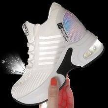 Mulher sapatos de desporto ao ar livre malha respirável tênis corrida para mulher jogging aumento da altura sapatos de balanço plataforma chunky tênis