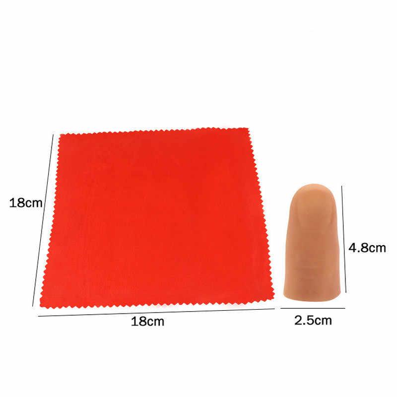 ใหม่ Magic Trick Props Vanish ปรากฏนิ้วมือ Thumb + ผ้าพันคอผ้าไหมสีแดงหายไป Tricks Perfrom Props