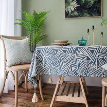 цена на Fashion table cloth  art style geometry print waterproof fabric table cloth with tassel
