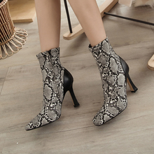 Plus Size 34-43 New 2020 Suede Square Toe Women Ankle Boots Fashion High Heel Short Woman Shoes Fur Snake Print Sexy