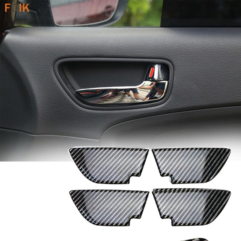 Interior Real Carbon Fiber Handle Bowl Cover Trim Protector Guard Accessories For Kia K3 2012 2013 2014 2015 2016 2017