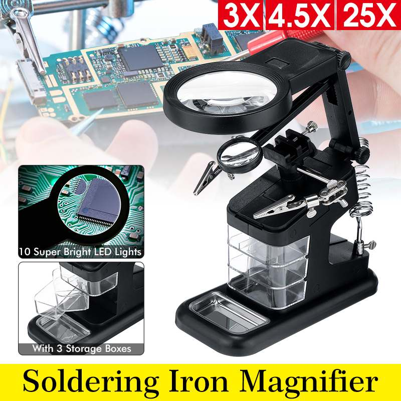 Multifunction 3 Hand Soldering Iron Stand Welding Tool Illuminated Glasses LED Alligators Clip Holder Clamp Helping Hand Repair