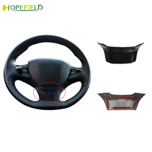 1pcs ABS gloss black Steering wheel Sticker wrap cover trim accessories for peugeot  308 SW T9 2014 2019 3008 2016 2017 2018
