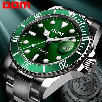 DOM Design Brand Luxury Men Watches Automatic Black Watch Men Stainless Steel Waterproof Business Sport Mechanical Wristwatch