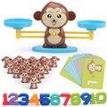数学マッチゲームボードおもちゃ猿猫のマッチバランススケール番号バランスゲームキッズ教育玩具学習する追加と減算