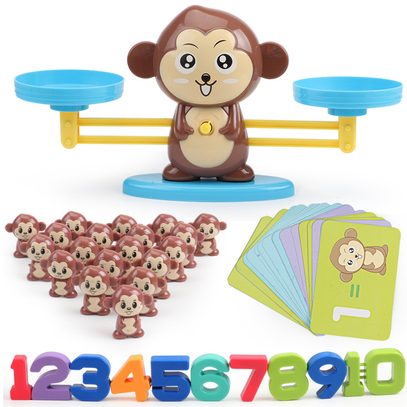 Math Match Game Board Toys Monkey Cat Match Balancing Scale Number Balance Game Kids Educational Toy to Learn add and subtract(China)