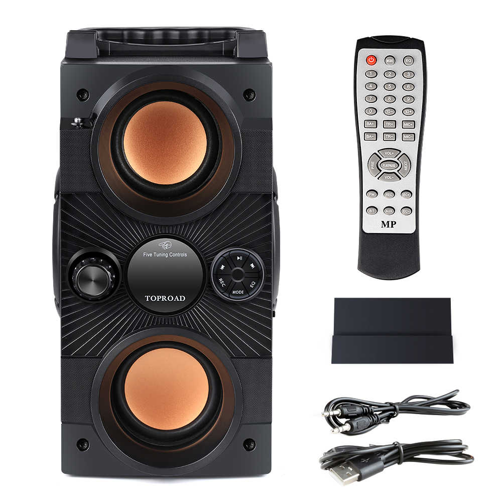 Toproad Portabel Bluetooth Speaker 30W Big Power Berat Bass Nirkabel Speaker Subwoofer Mendukung Remote Control FM MIC TF AUX USB