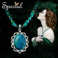 Special New Fashion Maxi Necklace Natural Stone Big Pendants Necklaces Vintage Blue Jewelry Gifts for Women XL150306