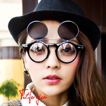 Newest Fashion Steampunk Goth Goggles Glasses Retro Flip Up Round Sungl