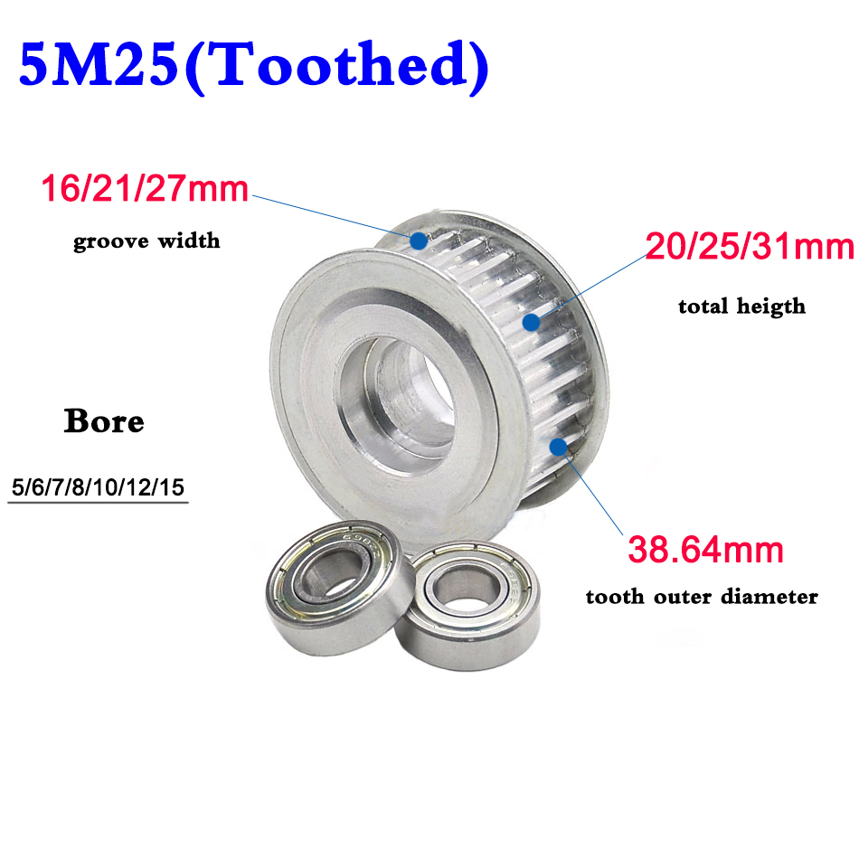 5M Idler Timing Pulley Synchronous Wheel Double Side Bearing Width 16//21//27mm