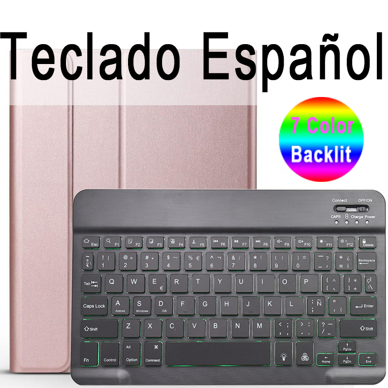 Spanish Keyboard Champagne Keyboard Case for iPad Air 4th 4 10 9 2020 A2324 A2072 Cover 7 Colors Backlit