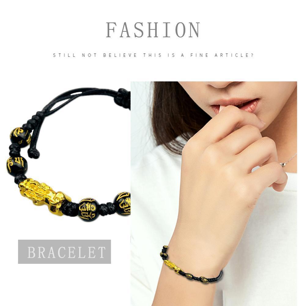 Feng shui preto obsidian pulseira trançada pixiu pulseira sorte artesanal riqueza amuleto trançado unisex presente decoração bracel n5x6