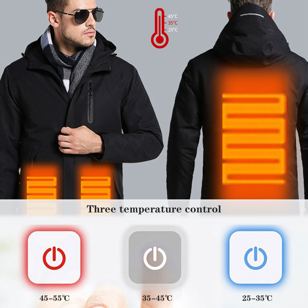High Quality Heated Jackets Down Cotton Men Women Outdoor Coat USB Electr Heating Hooded Jackets Warm Winter Thick Thermal Coat