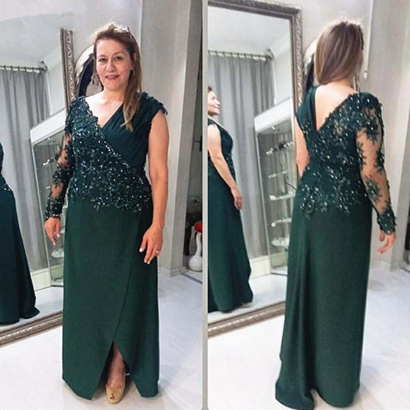 Dark Green Mother Of The Bride Dress Plus Size Long Sleeve Beading Lace Chiffon Mother Of The Groom Suits Formal Evening Gowns