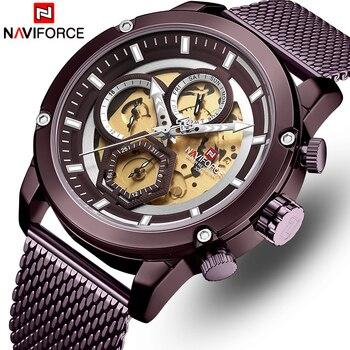 NAVIFORCE 9167 Watch Men Luxury Brand Casual Quartz Men Watches Full Steel Waterproof Men Wrist Watches