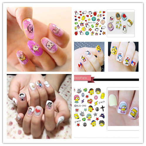 Watermark Nail Sticker Nail Polish Plastic Sticker Simpsons/Peanuts/Pretty Girl Warrior