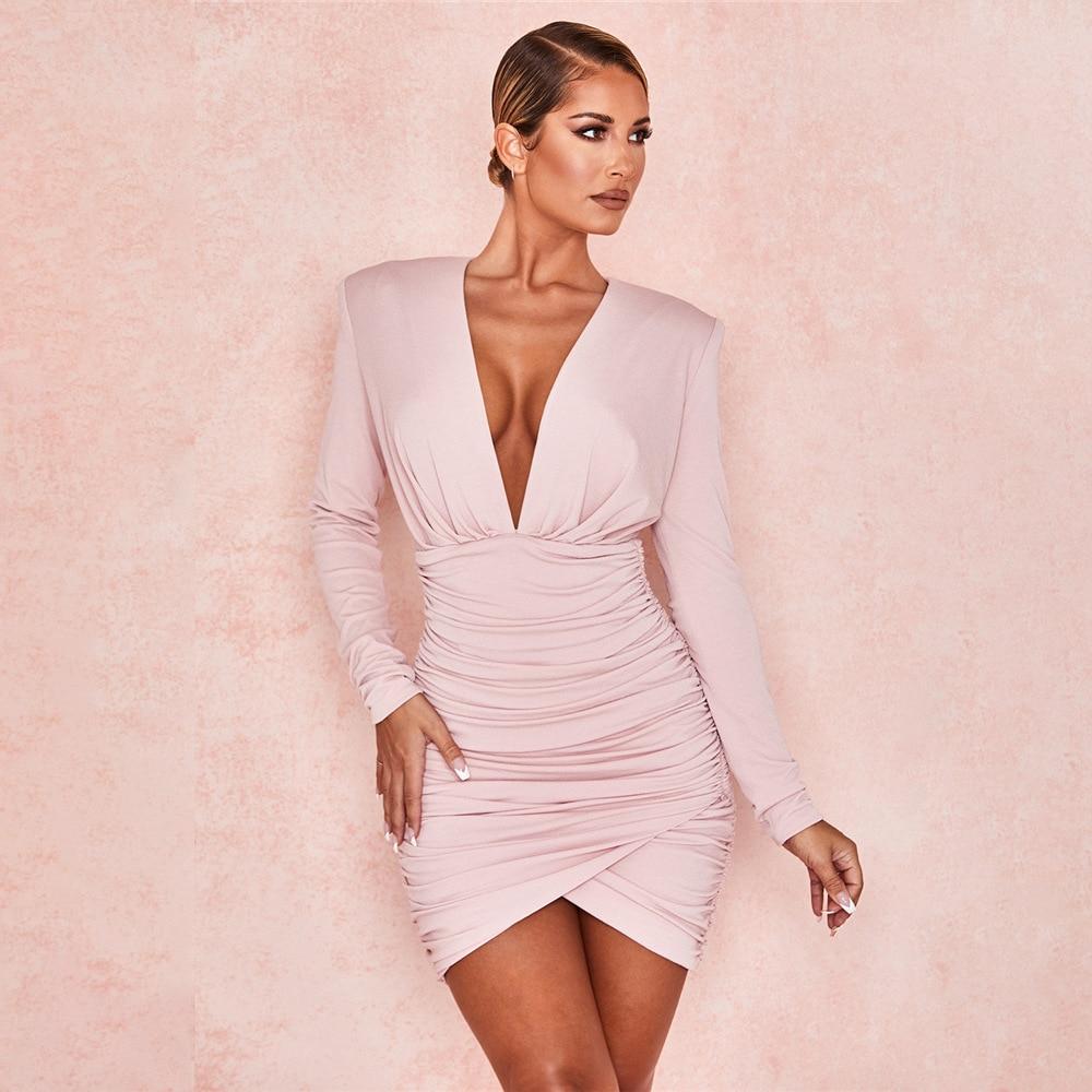 Fashion Milk Silk Short Dress Sexy V-neck Long Sleeve Waist Bag Hip Pleated Back Zipper Skinny Mini Dress Women Sukienki Letnie