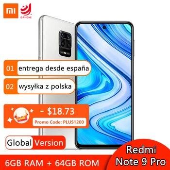 Купить Глобальная версия смартфона Xiaomi Redmi Note 9 Pro, 6 ГБ, 64 ГБ, NFC, Восьмиядерный процессор Snapdragon 720G, 64-мегапиксельная четырехъядерная камера, экран 6,67 дюйм...
