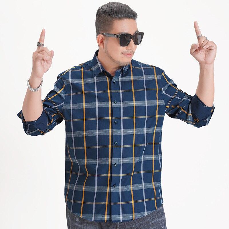 2020 NEW Spring Autumn Men's Slim Fit Men Long Sleeve Shirt Men Plaid Shirt Male Casual Men Shirt Large Size 5XL 6XL 7XL 8XL