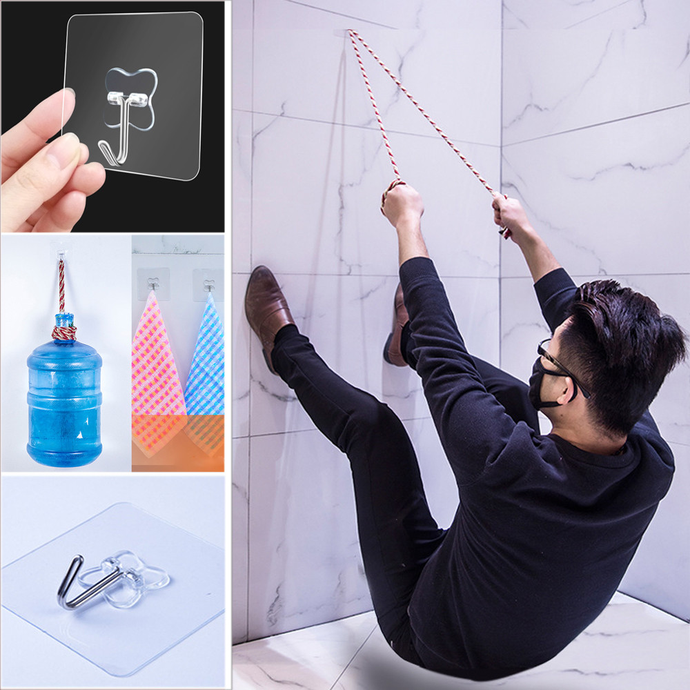 10PCS Strong Transparent Suction Cup Sucker Wall Hooks Hanger For Kitchen Bathroom 6*6cm 2019 Hot Sale Wall Hooks Fast Ship 45#