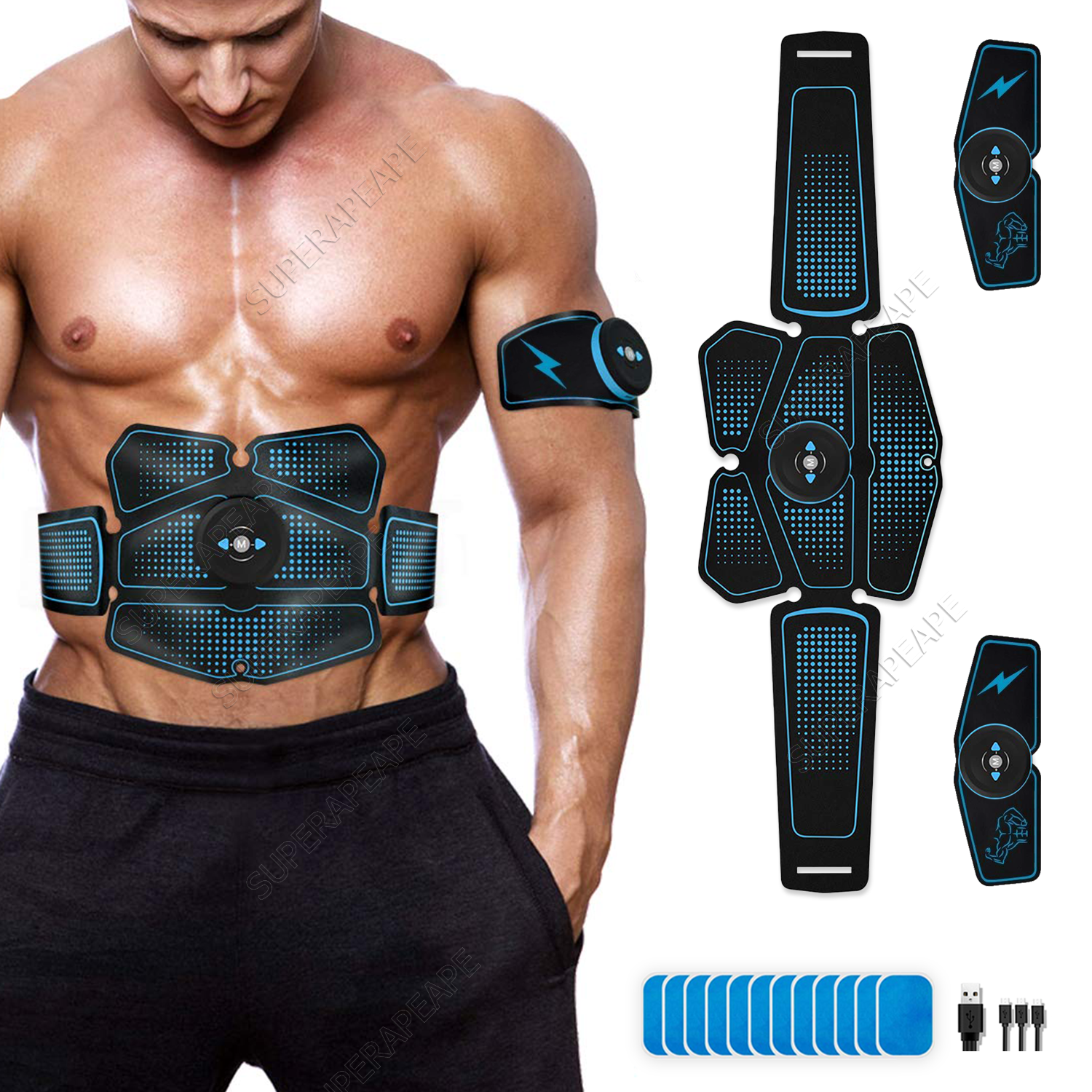 Abdominal Muscle Stimulator Trainer EMS Abs Fitness Equipment Training Gear Muscles Electrostimulator Exercise At Home Gym