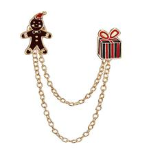 Brooch Christmas-Chain-Brooch Gifts Clothes-Decoration Candy Pattern Gingerbread Girls