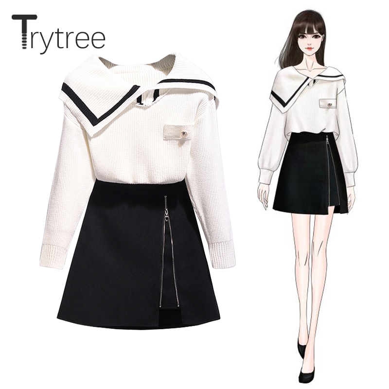 Trytree 2019 Autumn Winter Two Piece Set Casual Sailor Collar Knitting Loose Top + Skirt Mini Zipper Fashion A-line 2 Piece Set