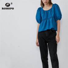 ROHOPO High Low Peplum Overlocked Waist Puff Sleeve Blue Blouse Autumn Female Ruffled Pullover Top Shirt #9338