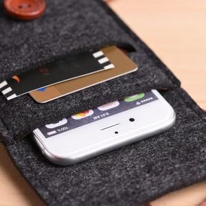 Image 5 - Portefeuille en feutre de laine fait à la main pour iPhone 8 Plus 5.5 pouces étui pour iPhone 6S 7 8 4.7 pouces sacs pour téléphone portable étui transparent