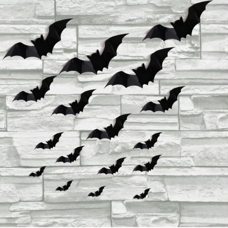 16PCS Halloween 3D Bats Decorations PVC Window Stickers Wall Art Decals DIY Halloween Party Supplies