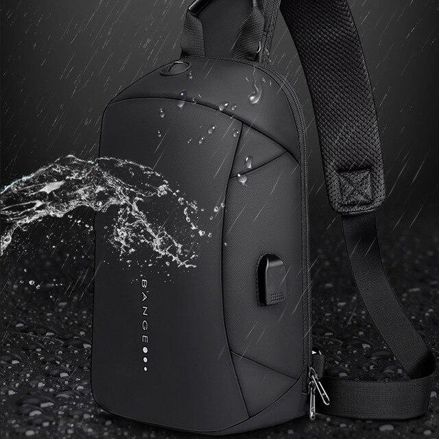 Bange Fashion Multifunction Crossbody Bags Men USB Recharging Chest Pack Short Trip Messenger Chest Bag Waterproof Shoulder Bag 2