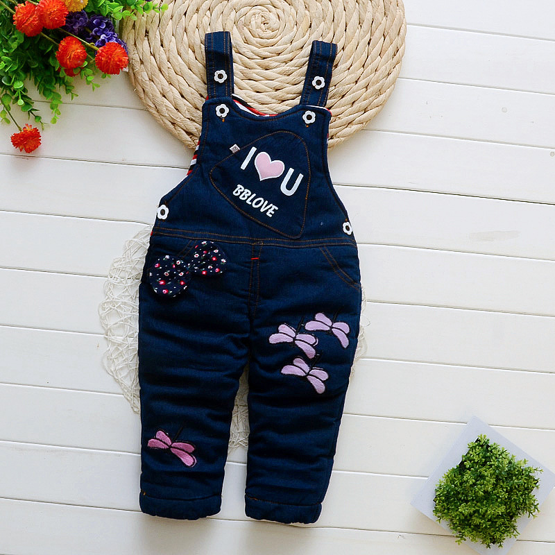 Bibicola Pants Overalls Girl Infant Winter Denim Trousers Kids for Thick Cartoon Warm