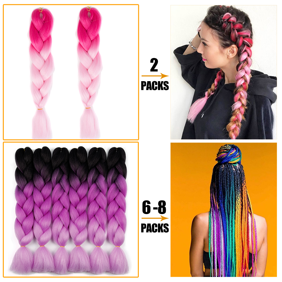 Synthetic hair Braids Ombre Braiding Hair Extension Box Braid Hair Pink Purple Yellow Golden Colors Crochet braids Kanekalon 2