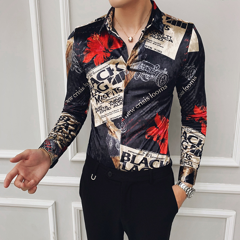 Velour Mens Long Sleeve Shirts Fashion Winter Party Social Shirt Men Luxury Print Casual Slim Fit Shirts Dress Camisas Hombre