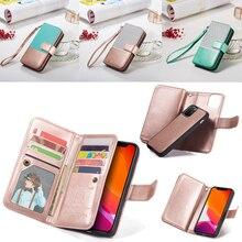 9 Kaarthouder Wallet Case voor Apple iPhone 11 Pro Max Xs X XR 8 7 6 6S Plus 5 5s SE Flip Leather Afneembare Magnetische Telefoon Case