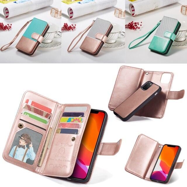 9 posiadacz karty portfel etui na Apple iPhone 11 Pro Max Xs X XR 8 7 6 6S Plus 5 5S SE etui z klapką ze skóry odpinany magnetyczny futerał na telefon