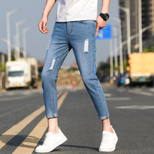 Distressed Stretch Jeans Retro Blue Ripped Hole Stretch Denim Trousers Skinny Jeans New Tape Design Slim Fit Jeans For Men man simple jeans blue denim hole stretch pants casual ripped jeans for men slim brand designer jeans young boy clothing