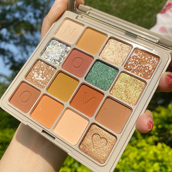 Novo-paleta de sombra de ojos pigmentada, 16 colores, maquillaje brillante, paleta de maquillaje