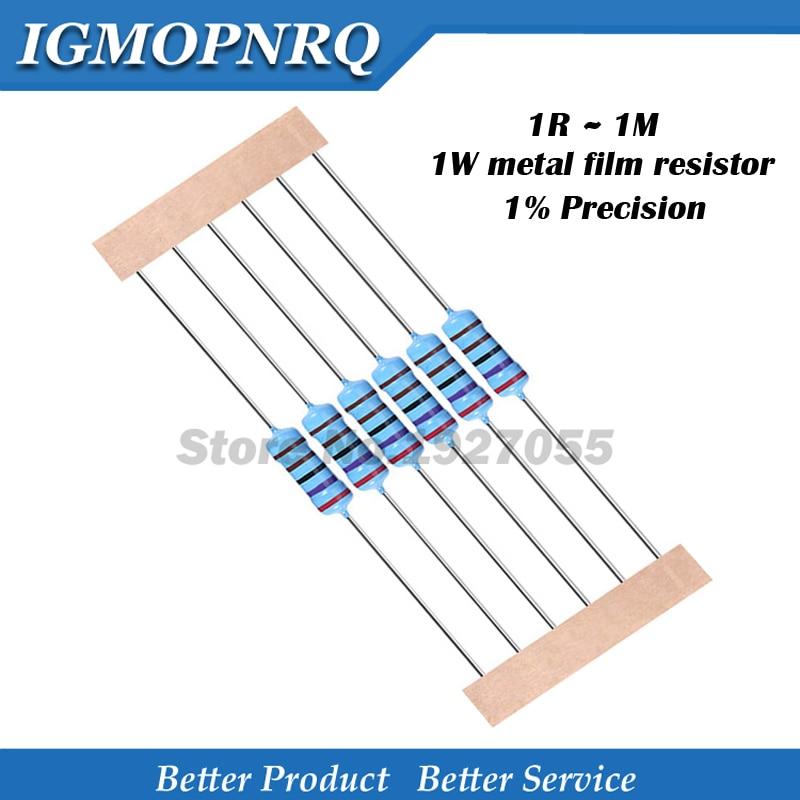 10pcs 1W Metal Film Resistor 1% 1R ~ 1M 2R 10R 22R 47R 100R 330R 1K 4.7K 10K 22K 47K 100K 330K 470K 1 2 10 22 47 100 330 Ohm New