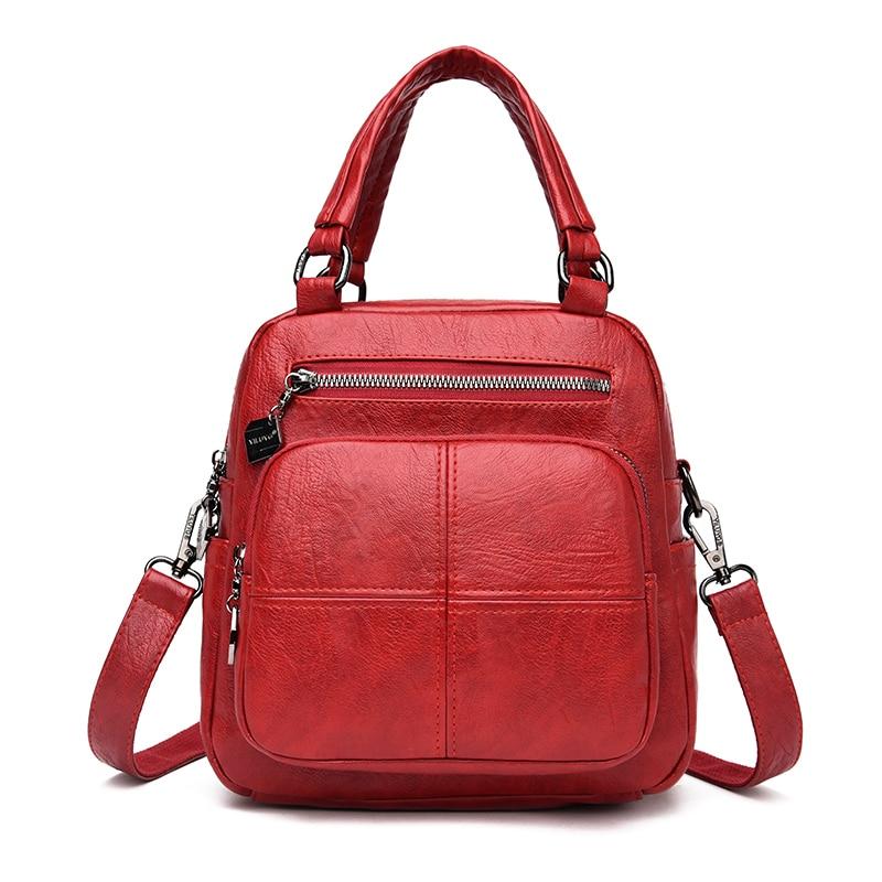 2020 Multifunction Leather Backpacks Ladies Sac A Dos Vintage Casual Daypacks Female Travel Backpack Women Mochilas Feminina New