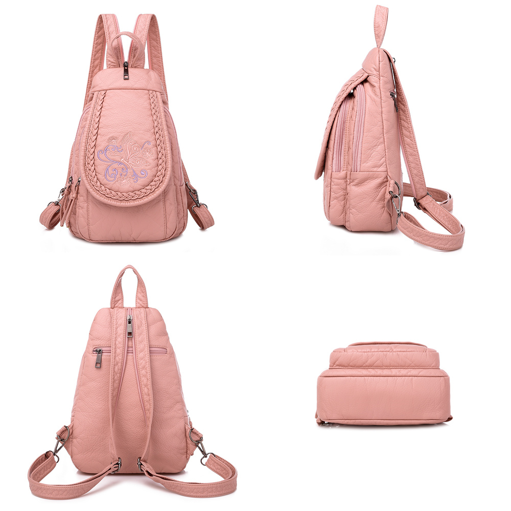 Image 5 - Butterfly Embroidery Sheepskin Women Backpack 3 in 1 Soft Genuine Leather Chest Bag For Mother Ladies  Large Capacity BagpackBackpacks   -