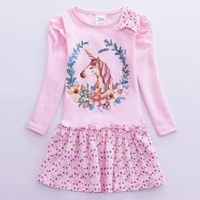 Spring 2019 Toddler Girls Unicorn Dress Cotton Kids Dresses for Girl Party Long Sleeve Clothes Cartoon Vestidos
