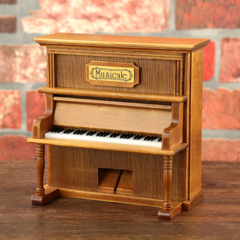 Quality Simulated Piano Vintage Home Decorations 1pcs Classical Square Wooden Clockwork Crank Exquisite Retro Music Box Gifts
