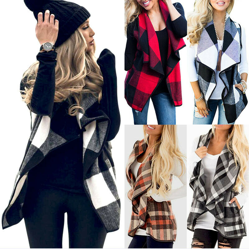 Casual Womens Warm Collar Suit Waistcoat Jacket Coat 2019 New Autumn Winter Ladies Plaid Cardigan Outwear Plus Size S-2XL