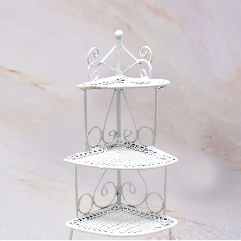 New 1/12 Iron Art Miniature Mini Triangle Flower Stand Kids Toys Furniture White For Children Dollhouses Model Accessories