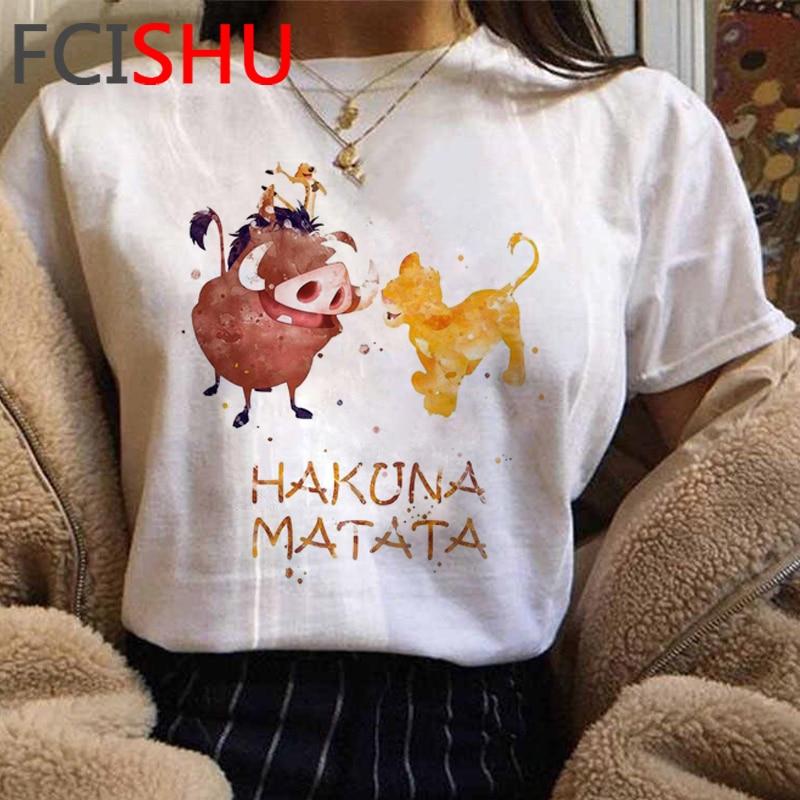 Hakuna Matata Funny Cartoont Tshirt Women Lion King Kawaii Graphic T-shirt Cute Simba Anime T Shirt Summer Top Tees Shirt Female