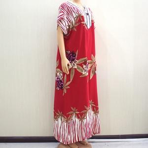 Image 3 - 2019 Fashion New Arrival Wonderful Red 100% Cotton Appliques V Neck Short Sleeve Long Dress African Dashiki Long Dress