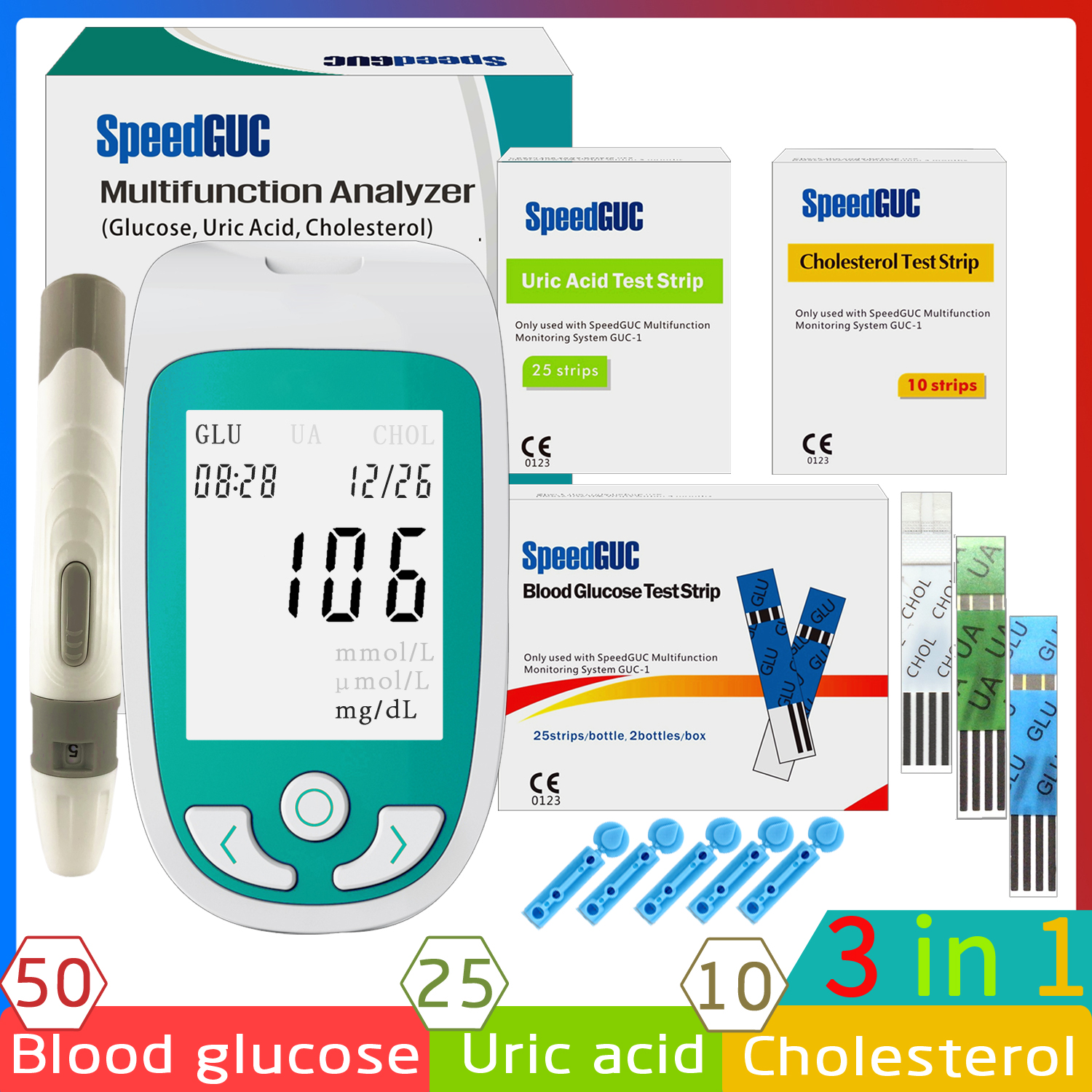 3in1 MultiFunction blood glucose meter Cholesterol & Uric acid meter with Test Strips Diabetes Monitoring system Gout Analyzer